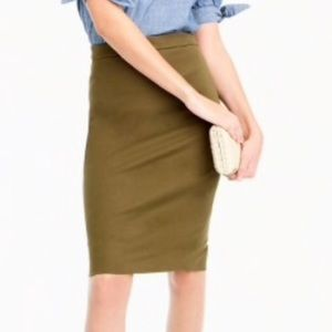 NWT J.Crew Brown Wool Kick Pleat Pencil Skirt